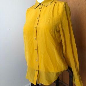 Banana Republic Mustard Yellow Silk Button Up XS